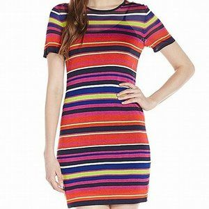 TRINA TURK MULTI-COLOR STRIPED RAYON MINI DRESS S